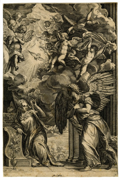 Cornelis Cort after design by Titian, The Annunciation, second state, c. 1566, engraving