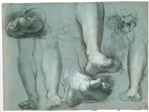 Studies of Christ's legs and feet, black and white chalk with traces of red chalk and stump on blue paper, 32.2 x 43.4 cm, Kupferstichkabinett, Staatliche Museen zu Berlin