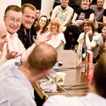 Kinda unrelated: yrs. truly interviewing Dan Clowes, Charles Burns and Chris Ware, along with Paul Gravett, at Komiks.dk 2010. Photo by Frederik Høyer-Chr.