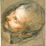 Study for the head of Saint Francis, black, red and white chalk and pink pastel, 34.5 x 28.8 cm., Edinburgh, National Galleries of Scotland