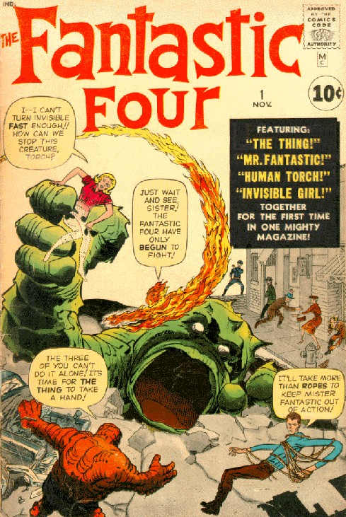 "Jack Kirby's iconic cover to Fantastic Four #1 (1961), the beginning of the so-called ""Marvel Age of Comics"""