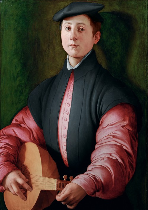Jacopo Pontormo, Portrait of a young lute player, c.1529–30. Oil on panel, 81.2 by 57.7 cm. Private collection.