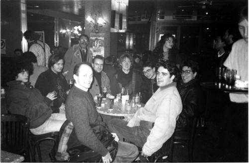 Mattt Konture, Killoffer, Stanislas, Lewis Trondheim, Jean-Christophe Menu, David B., Philippe Dupuy and Charles Berberian in Angoulême in 1991. Photo Courtesy lewis Trondheim.