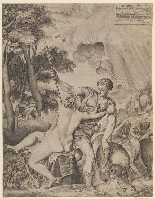 Giulio Sanuto after Titian, 'Venus and Adonis', 1559, engraving, 538 x 415 mm. Copenhagen, Statens Museum for Kunst.