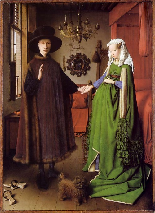 Jan van Eyck, Portrait of Giovanni(?) Arnolfini and his Wife, 1434, oil on panel, 82.2 x 60 cm, London, National Gallery