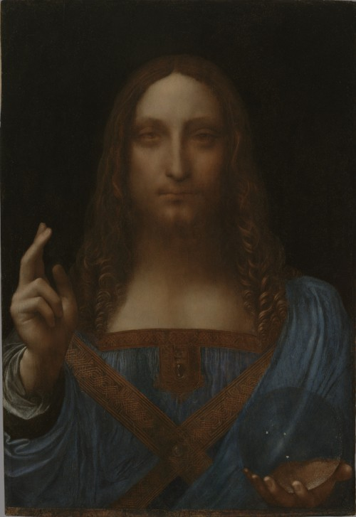Leonardo da Vinci and Studio, c. 1499 or later, Christ as Savior of the World, oil on panel, 65.5 x 45.1 cm., private collection