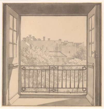C.W. Eckersberg, View from Kuppelsalen af Charlottenborg toward the Botanical Gardens, 1845,  pen, black ink and gray wash over pencil, 210 x 210 mm., Statens Museum for Kunst, Den kongelige kobberstiksamling